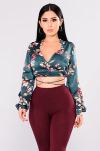 All Strings Attached Floral Top - Hunter