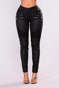 Slick With It Moto Jeans - Black