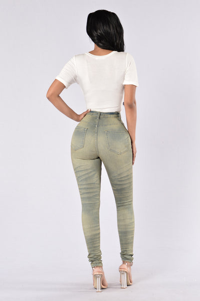 Athena Double Wash Jeans - Olive