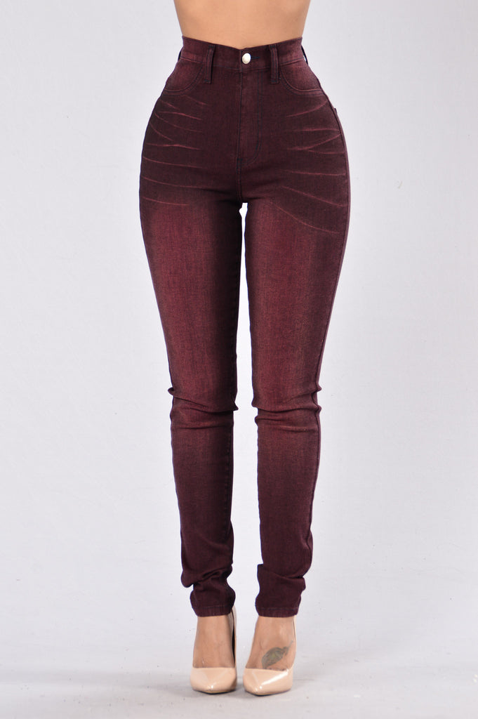 Jump Jump Around Jeans - Burgundy