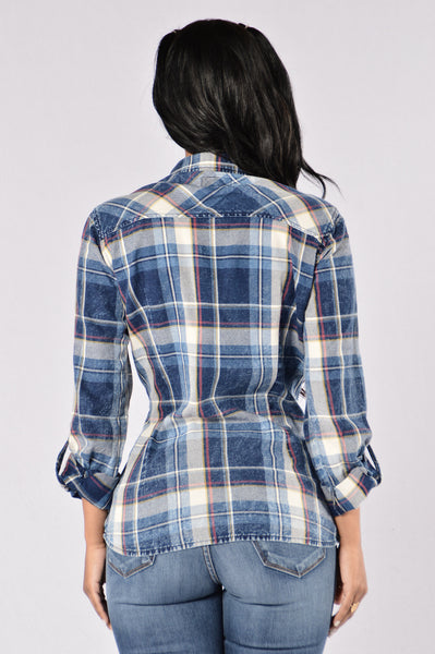Next Best Flannel Top - Indigo