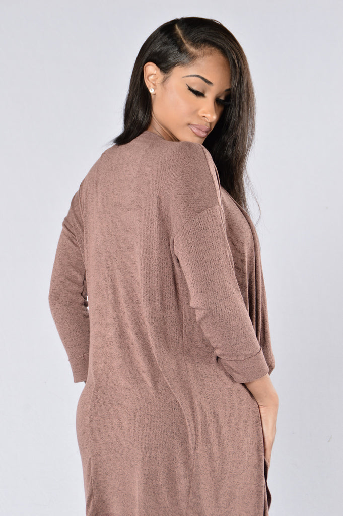 Easy Call Cardigan - Red Bean