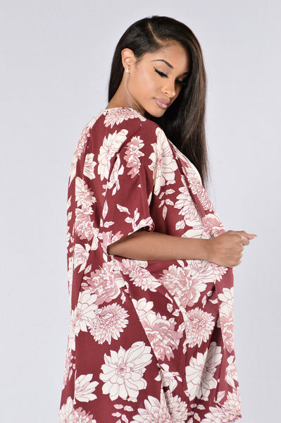 Take It Away Kimono - Burgundy