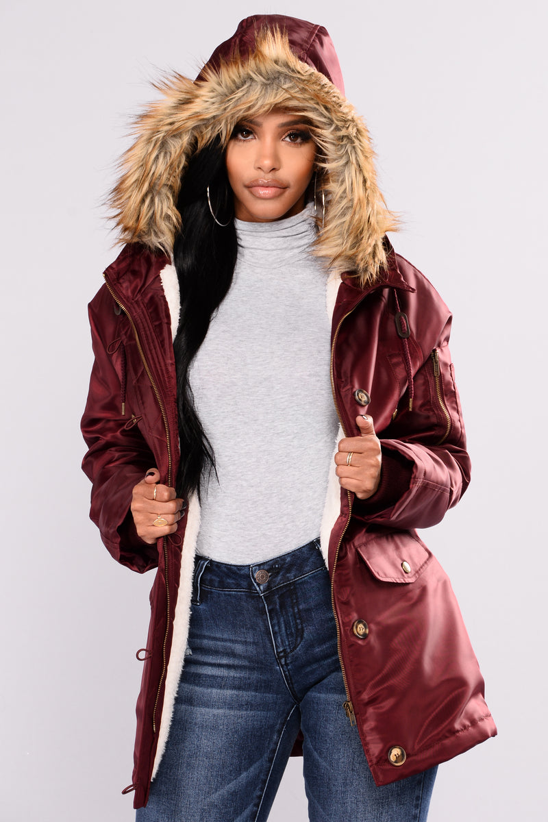 Carmina Hooded Jacket - Burgundy