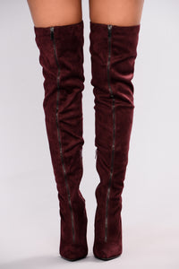 All Zipped Up Over The Knee Boot - Plum