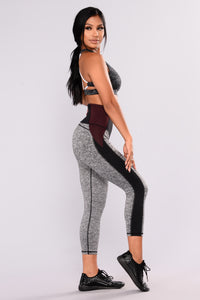 Teeki Mesh Active Leggings - Black/Burgundy