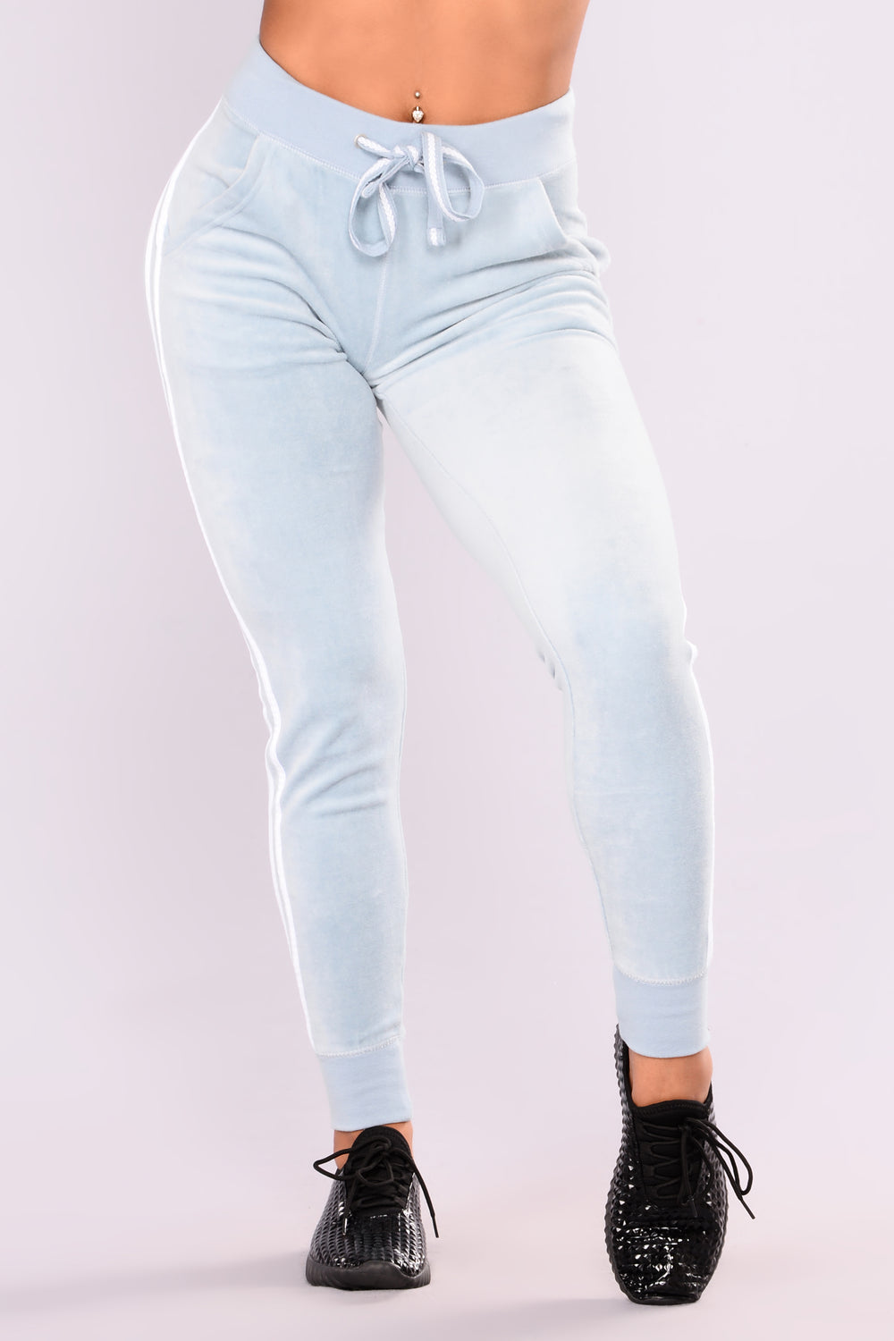 Easy Fit Velour Jogger - Dusty Blue