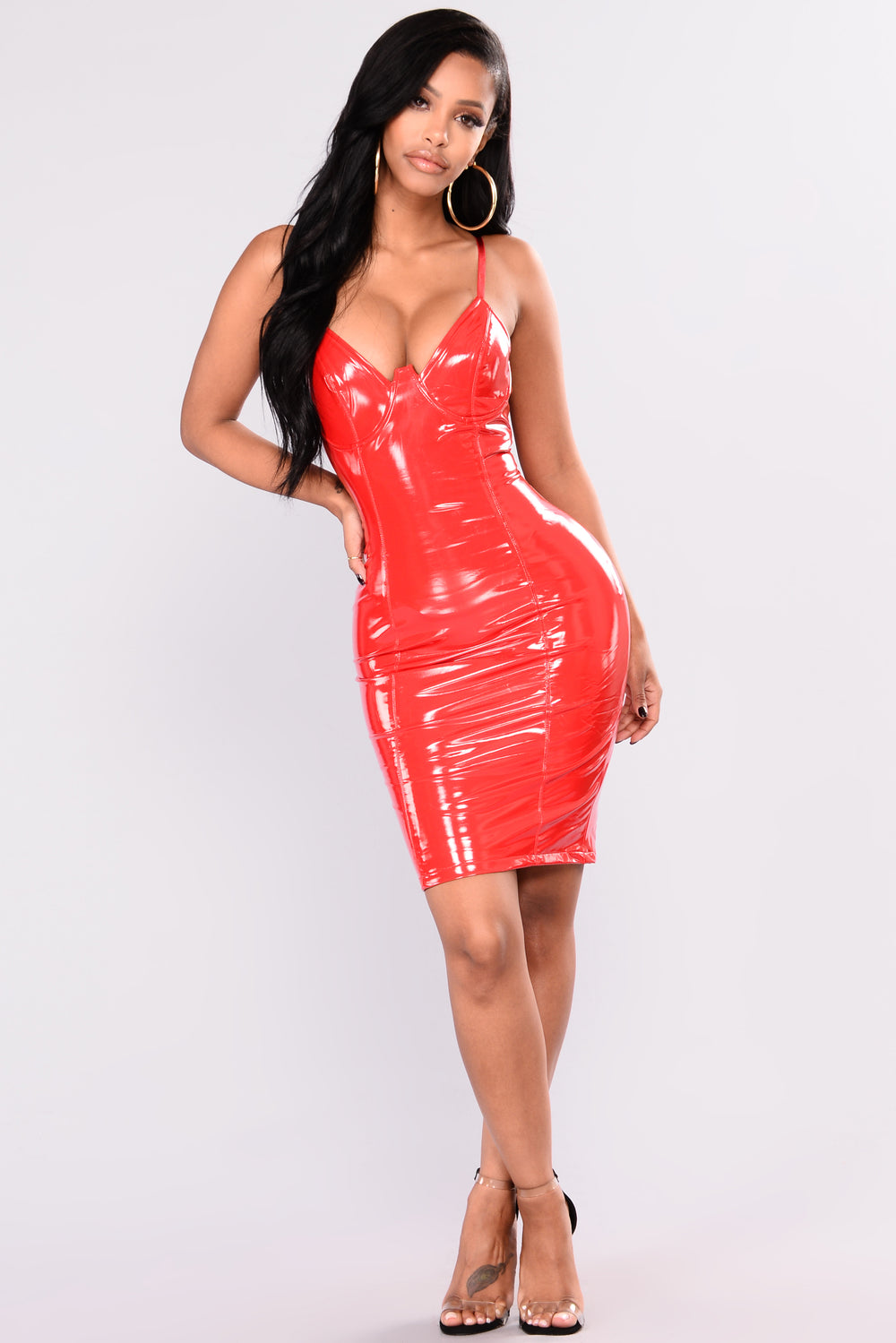 Self Portrait Latex Dress - Red