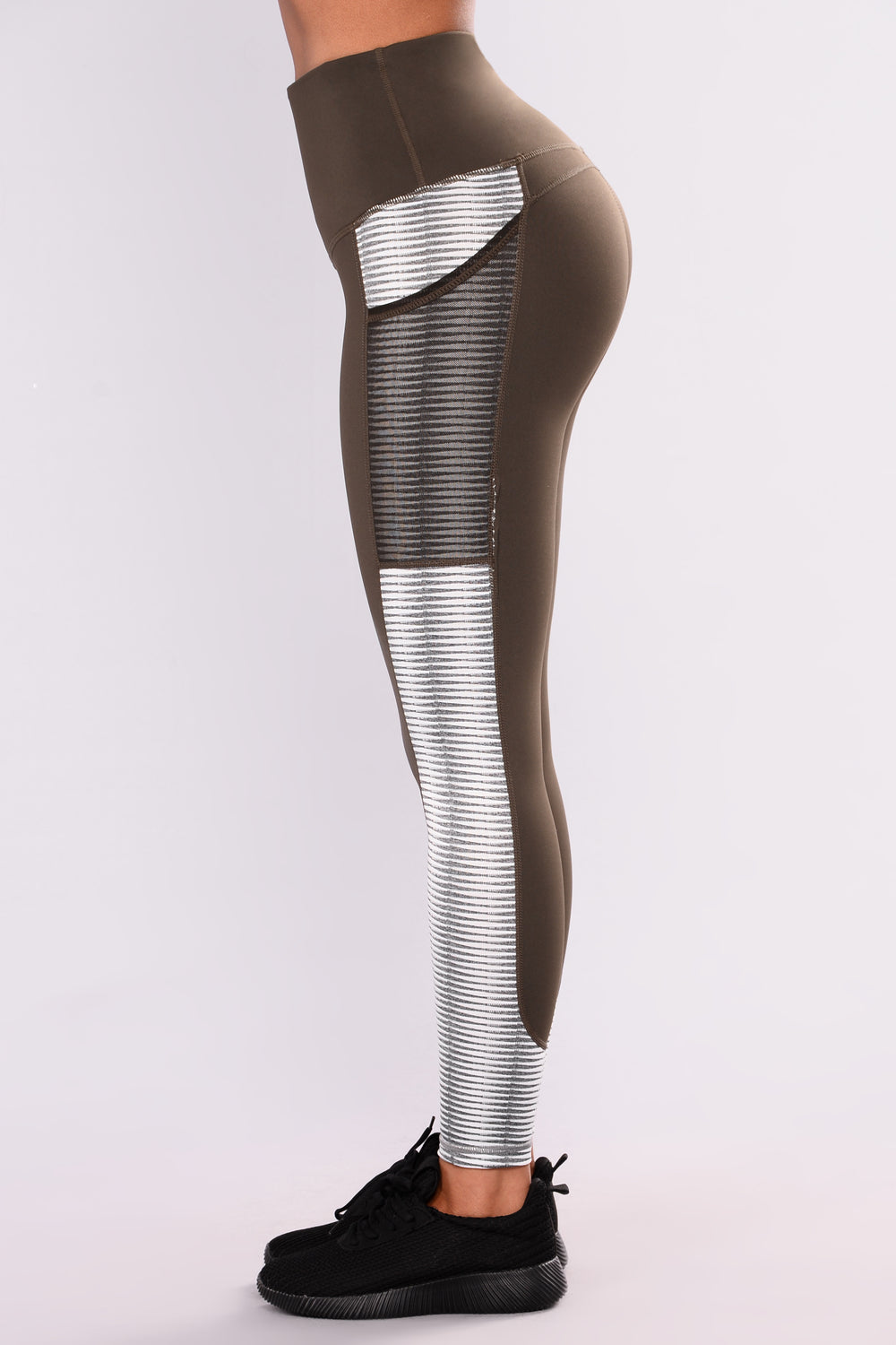 Sasha Mesh Active Leggings - Olive/Multi