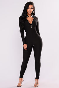All Zipped Up Jumpsuit - Black