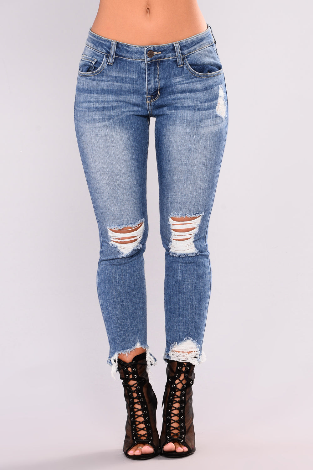 Scream And Shout Ankle - Medium Blue Wash