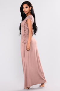 Causing Trouble Maxi Dress - Cocoa Angle 4