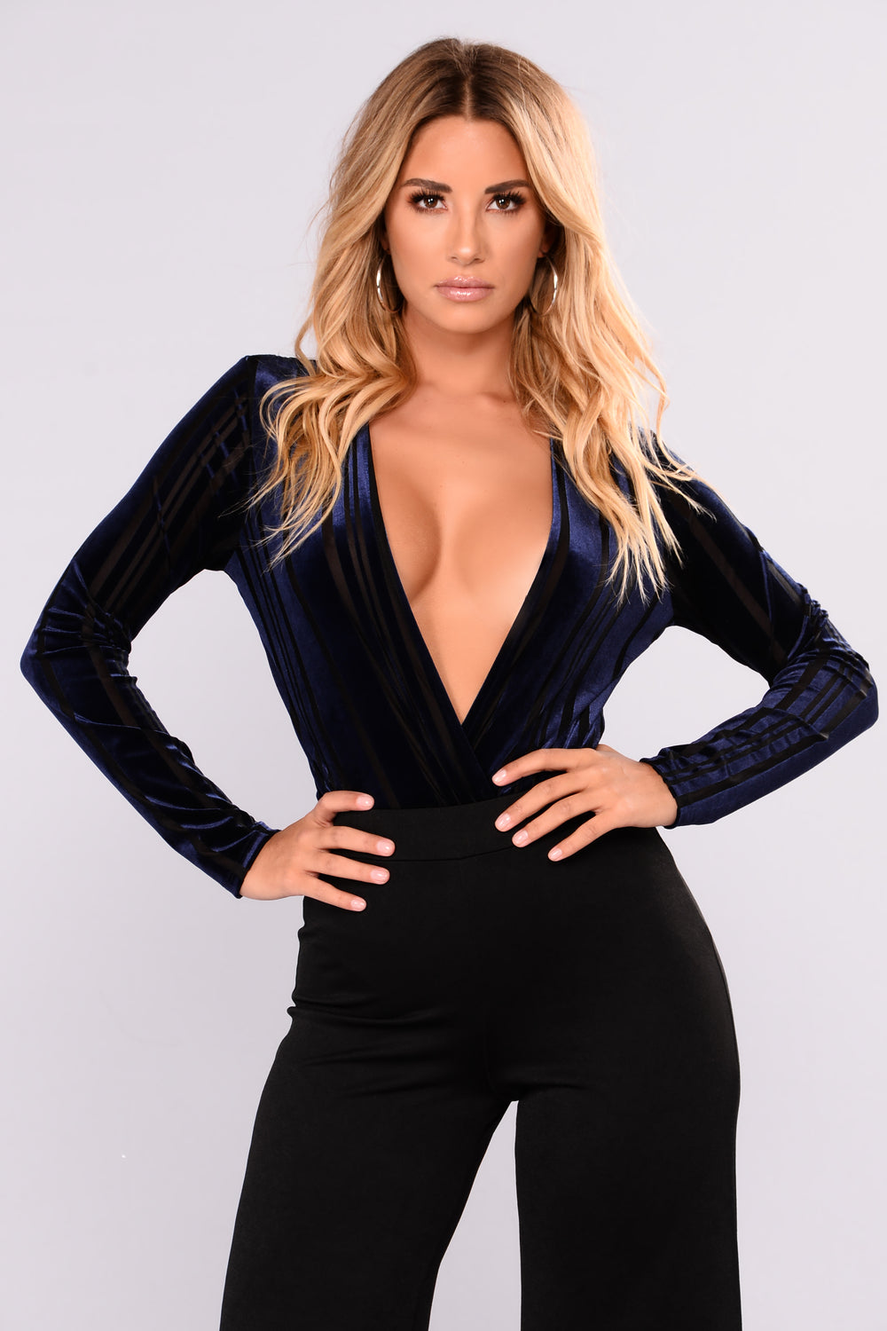Byron Long Sleeve Bodysuit - Navy