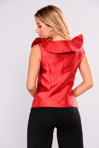 Arina Ruffle Top - Red