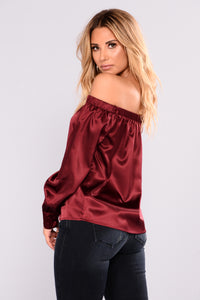 Ready To Go Satin Off Shoulder Top - Burgundy