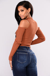 Zip It Up Cold Shoulder Sweater - Rust