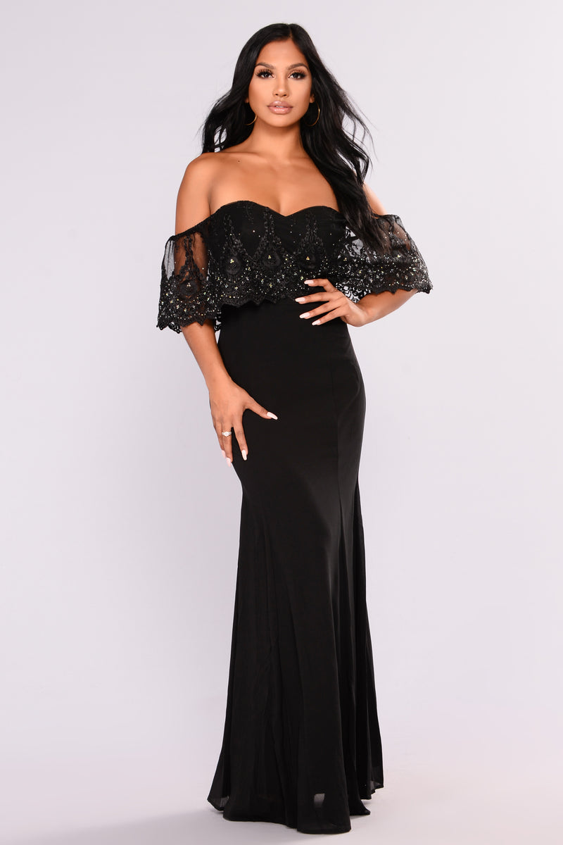 Social Gathering Flounce Dress - Black