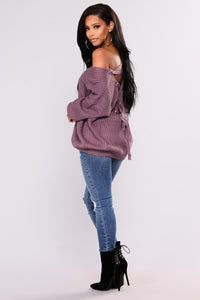 Got My Back Lace Up Sweater - Lavender