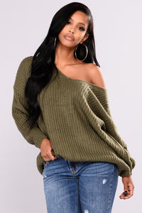 Got My Back Lace Up Sweater - Olive Angle 2