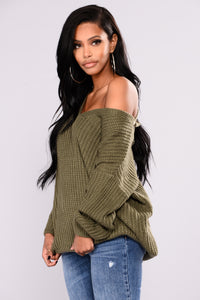 Got My Back Lace Up Sweater - Olive Angle 4