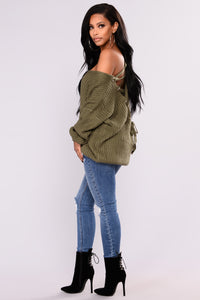 Got My Back Lace Up Sweater - Olive Angle 5