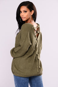 Got My Back Lace Up Sweater - Olive Angle 1