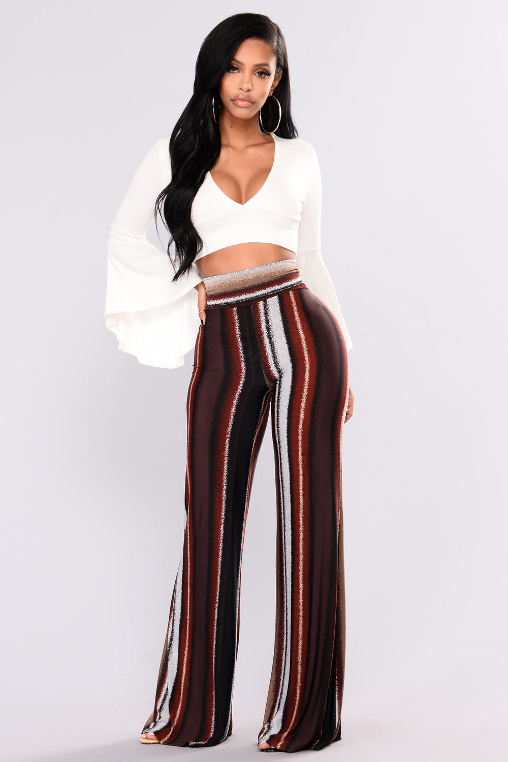 Wavy Babe Striped Pants - Red Multi