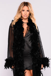 Fluff My Feathers Long Robe - Black