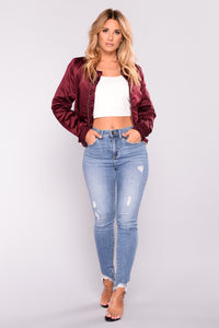 Shay Satin Bomber - Burgundy