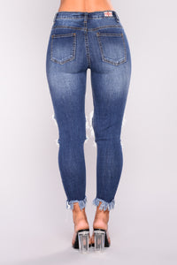 Fray And Forget Skinny Jeans - Dark Denim
