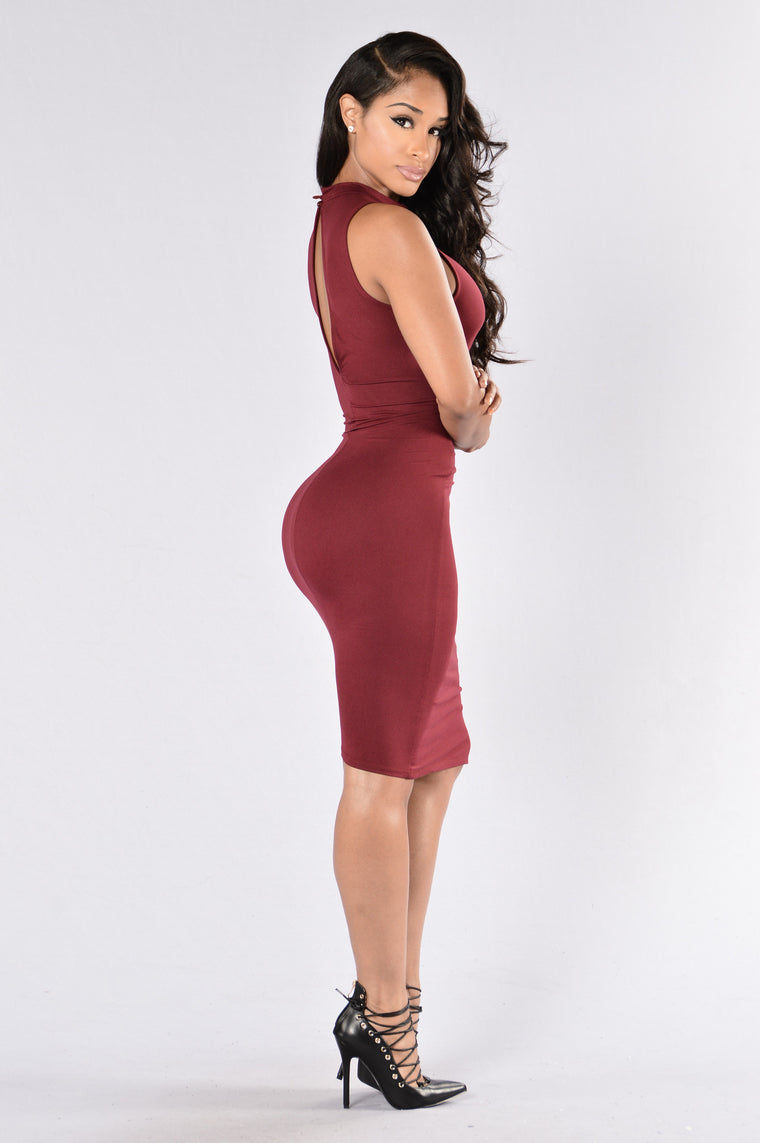 If Your Girl Only Knew Dress - Burgundy