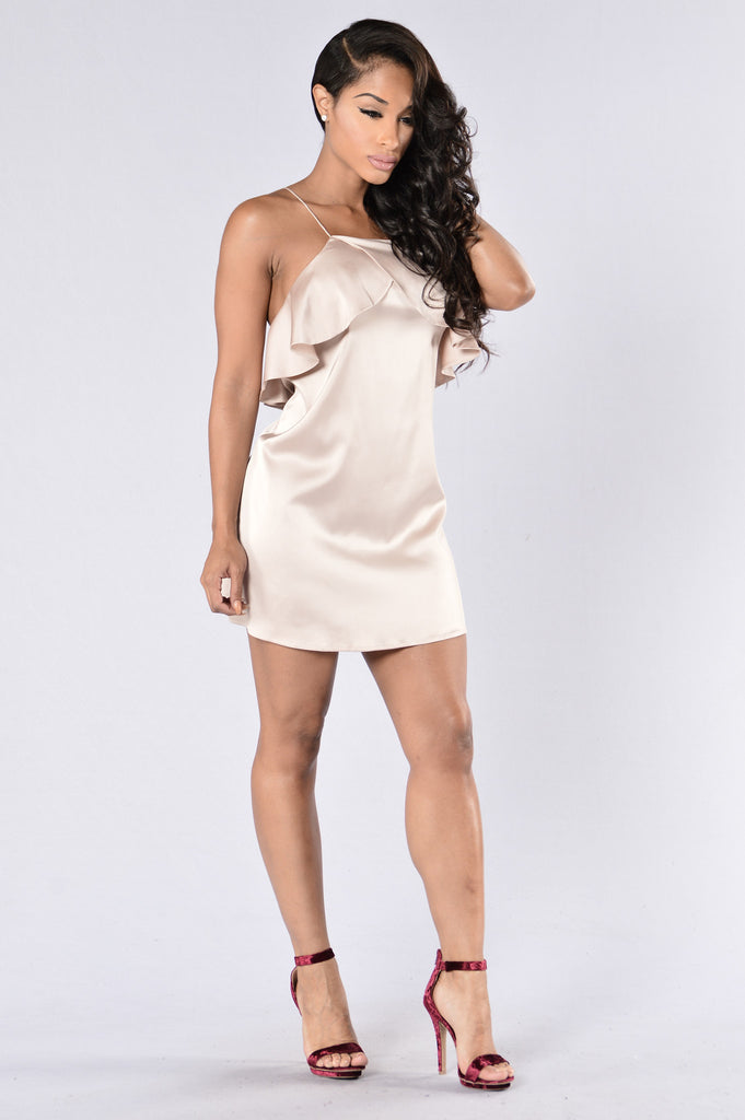 Ruffle Oil Dress - Champagne