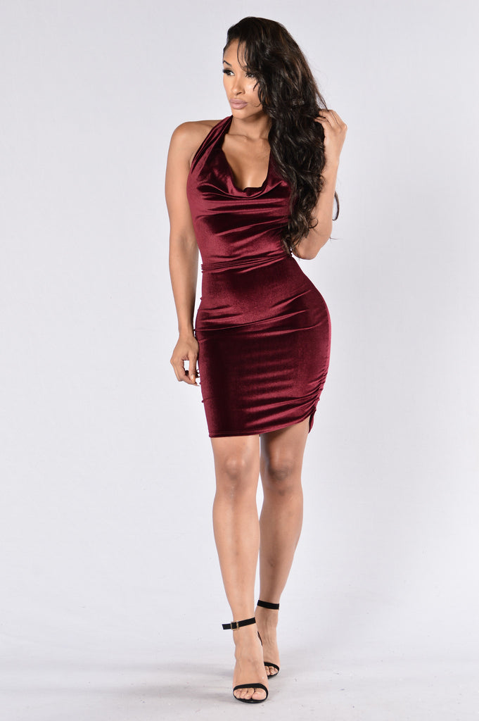 Drape Escape Dress - Burgundy