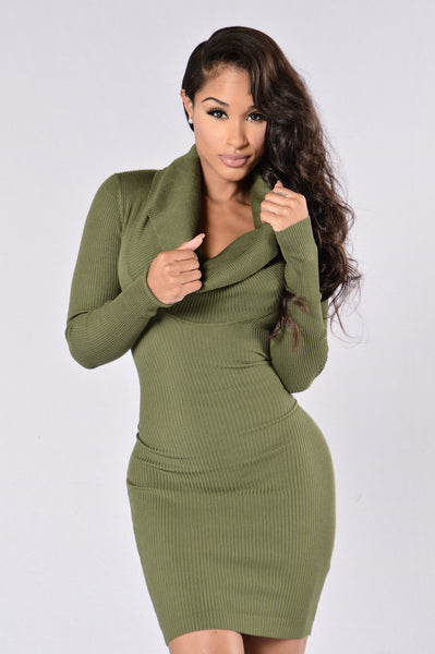 Comeback Season Dress - Olive