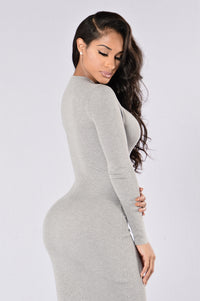 Try Harder Dress - Heather Grey