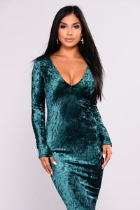Crush On You Velvet Dress - Hunter Green