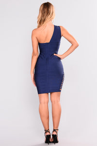 One Way Ticket Bandage Dress - Navy