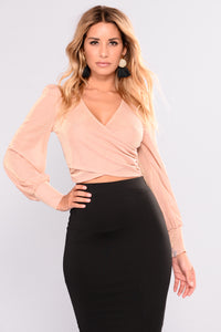 Shine Cherie Surplice Top - Rose Gold