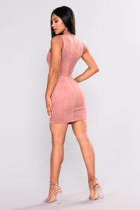 Say Yes Suede Dress - Mauve