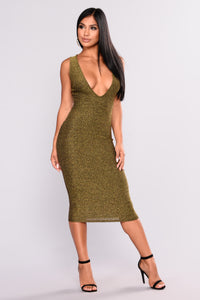 See This Deep V Dress - Gold