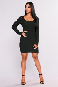 My Boo Knit Dress - Hunter Green
