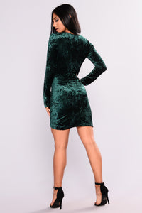 Riya Crushed Velvet Dress - Hunter Green