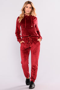 Robertson Velour Pants - Red Angle 1