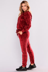 Robertson Velour Pants - Red Angle 4
