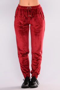 Robertson Velour Pants - Red Angle 2