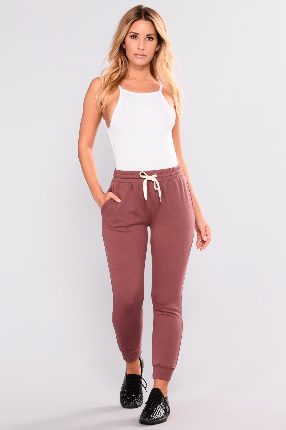 Easy As Can Be Basic Joggers - Dark Mauve