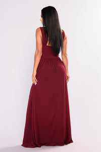 Soiree Embroidered Dress - Burgundy