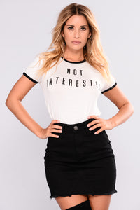 Not Interested Graphic Top - Ivory