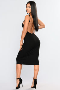 Back Slip Dress - Black Angle 1