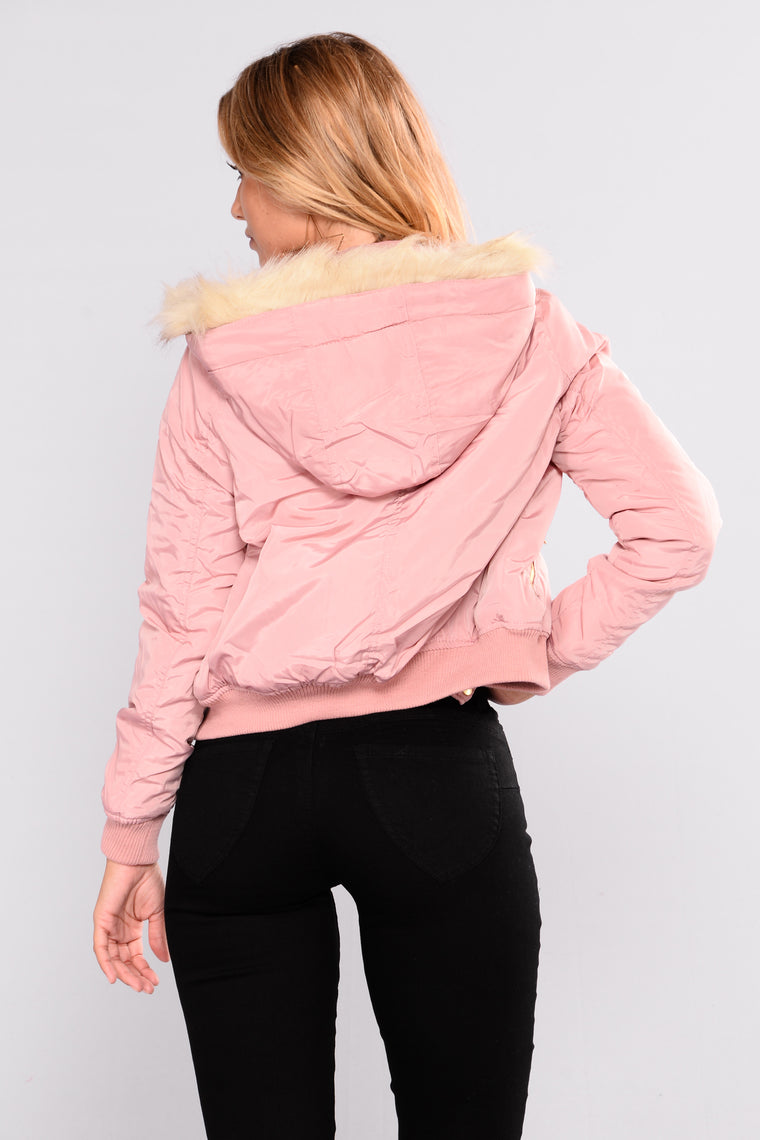 Roselyn Hooded Bomber - Mauve